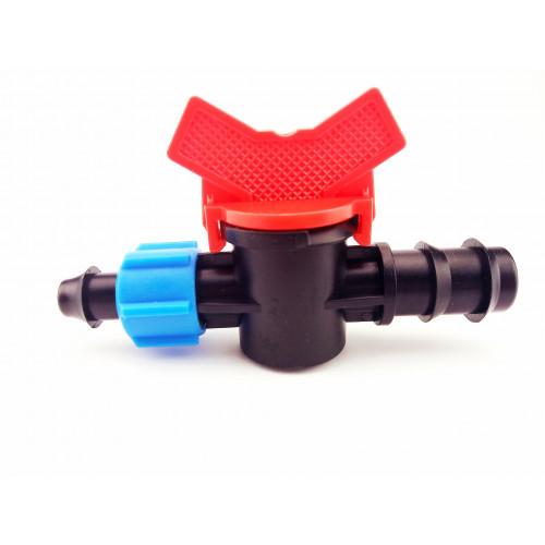 Кран стартовый с поджимом для капельной  трубки d 20 мм