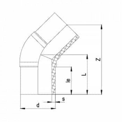45° Колено литое ПЭ100 SDR11
