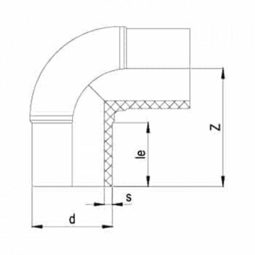 90° Колено литое ПЭ100 SDR17 160mm
