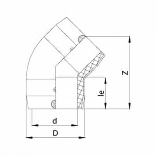 ТР Колено 45° 40В-ПЭ100 SDR11
